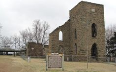 The St. Aloysius Church Historic Site in the unincorporated community of Greenbush, Kansas has a church and a church ruins sitting almost side by side. The 1887 St. Aloysius Church was replaced by a larger building in 1907, but the newer building was struck by lightning and destroyed in 1982 and the congregation returned to the older building. The registered Kansas state historic site is very picturesque.