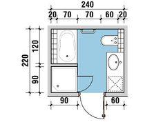 Mała łazienka. Jak w niej zmieścić wannę i prysznic? Small Bathroom Plans, Small Bathroom Layout, Bathroom Floor Plans, Wet Room Bathroom, Tiny House Bathroom, Toilet Room Decor, Bathroom Dimensions, Apartment Decorating On A Budget, Small Toilet