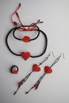 Macrame jewelry set Heart Necklace Friendship Bracelet Unique Ring Symbol LOVE Beautiful gift for Valentine's Day Red Heart Bohochic jewelry - گوشواره - halskette Macrame Colar, Micro Macrame, Macrame Jewelry, Macrame Necklace, Macrame Bracelets, Valentines Diy, Valentine Day Gifts, Heart Bracelet, Heart Jewelry