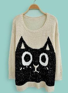 Beige Long Sleeve Sequined Cat Print Loose Sweater $32.99