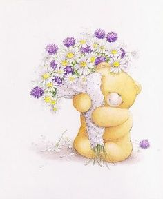 Some flowers, love and hugs for you today! Have a beautiful day my sweet friend. Bear Pictures, Cute Pictures, Cartoon Pics, Cute Cartoon, Kirigami, Cute Bear Drawings, Love Bears All Things, Blue Nose Friends, Tatty Teddy