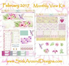 Planner Stickers February 2017 Monthly View Kit from www.StickAroundDesigns.Com Free U.S. shipping!