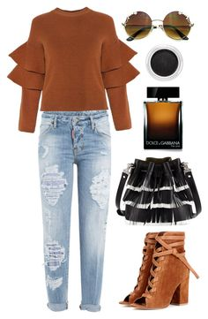"""""""Brown ruffles sleeve sweater"""" by thestyleartisan ❤ liked on Polyvore featuring Dsquared2, Proenza Schouler, Gianvito Rossi, Dolce&Gabbana and Clarins"""