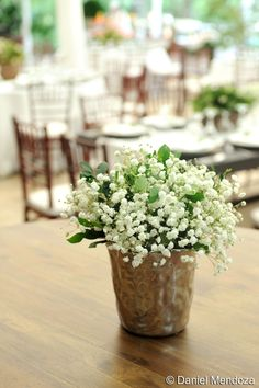 Simple Baby´s Breath in a silver mint julep cup