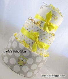 Owl diaper cake  Neutral diaper cake  Baby by MsCarlasBabyCakes