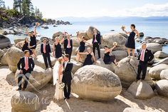 Lake Tahoe wedding party on the boulders at Sand Harbor #LakeTahoeWedding #LakeTahoephotographer #SandHarbor © www.tahoeweddingphotojournalism.com