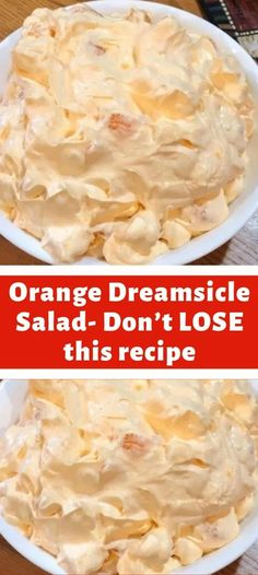 Ingredients: 1 box orange Jell-O 1 box instant vanilla pudding 1 cup boiling water cup cold water 1 Cool Whip 8 oz. # Food and Drink salad Orange Dreamsicle Salad- Don't LOSE this recipe Fluff Desserts, Jello Recipes, Dessert Salads, Fruit Salad Recipes, Köstliche Desserts, New Recipes, Sweet Recipes, Delicious Desserts, Cooking Recipes