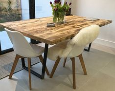 Package: Vintage Industrial Style Reclaimed Dining Table with Matching Bench