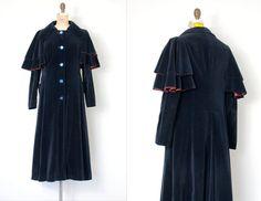 vintage 1970s coat  blue velvet 70s coat  She Wore by SwaneeGRACE