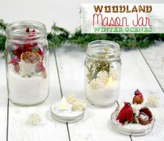 DIY woodland mason jar winter scenes