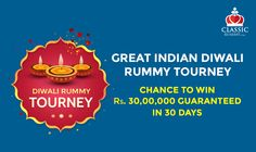 #Diwali celebrations have begun at #ClassicRummy!  Here's Your Diwali gift! Join Classic Rummy's Great Indian Diwali Rummy tournament for free and stand a chance to win a share of Rs.30 Lakh cash rewards!  https://www.classicrummy.com/Diwali-rummy-tourney?link_name=CR-12 #rummy  #rummytournament #diwalitournament #Indiandiwali #30lakhs #cash #freecash #diwaligift #diwalicelebrations
