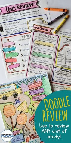 Looking for a super fun way to review any unit of study? Then, you're going to love this Doodle and Do resource! It's designed to give to students to complete after finishing any instructional unit. First, record critical information about the unit on detailed planning pages.  Then, they turn their unit notes into a Doodle Review.  Students fill in the Doodle Review template with everything they learned in class!  So fun!  So creative!  So engaging!