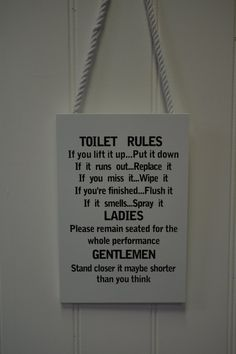 Wooden Funny Plaque Sign Toilet Rules Bathroom: Amazon.co.uk: Kitchen & Home