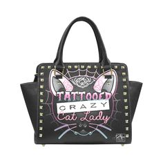 Crazy Cat Lady Studded Handbag Rivet Shoulder Handbag (Model 1645)