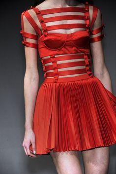 red bondage strap dress corset bustier style #UNIQUE_WOMENS_FASHION