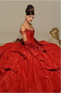 Marvelous Red Off The Shoulder Beads Working Taffeta Ball Gown Chapel Train Wedding Dress