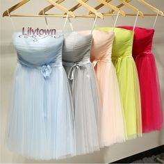 Tulle Short Strapless Bridesmaid Dress