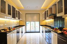 Black And White Themed Modular Kitchen by Sanjiv C Mehra Modern Kitchen Apartment, Kitchen Layout Plans, Kitchen Decor Apartment, Parallel Kitchen Design, Kitchen Interior Design Decor, Kitchen Unit Designs, Kitchen Room Design, Kitchen Design Decor, Kitchen Furniture Design
