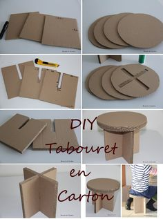 tabouret en carton Plus Plus DIY Tabouret en carton – Bricol et Carton / Dekozilla On a tight budget and moving into your first apartment with no furniture? We have a few brilliant cardboard furniture ideas that will save you a fortune, and allow you to Diy Cardboard Furniture, Cardboard Crafts, Barbie Furniture, Dollhouse Furniture, Paper Crafts, Furniture Ideas, Furniture Design, Cardboard Playhouse, Paper Furniture