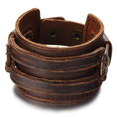 Metallic Brown Genuine Leather Wristband Mens Wide Leather Bracelet with Snap Button | Amazon.com