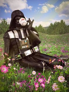 Darth Vader relaxing with tea