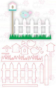Fence & Birdhouse - Digital Cutting File download for Silhouette Cameo, Scan n Cut etc - Polkadoodles Ltd