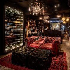 "{{block class=""Magento\Framework\View\Element\Template"" name=""chesterfield-content"" template=""Magento_Theme::chesterfield/content. Cigar Lounge Decor, Bar Lounge, Man Cave Room, Man Cave Home Bar, Lounge Design, Cafe Design, Home Bar Rooms, Whiskey Room, Cigar Bar"
