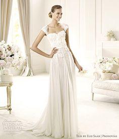 elie by elie saab wedding dresses pronovias 2013 galant cap sleeve gown