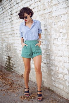 high waisted shorts + button up. love her hair and of course this outfit says me so i love it