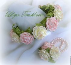 Pink beige rose fabric flower hair accessories Bridal. .