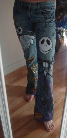 Hand Painted Custom Halloween Jack Jeans by scatterbirdie on Etsy, $200.00