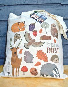 7,90€ Forest Animal Woodland Print Cotton Long Handle Tote Bag Shoulder Bag