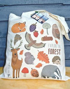 7,90€ Forest Animal Woodland Print Cotton Long Handle Tote Bag Shoulder Bag