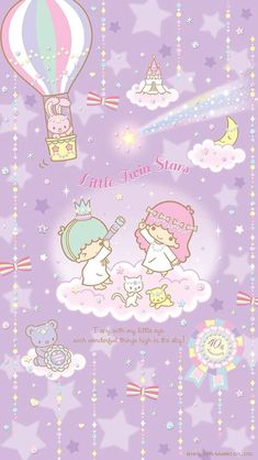 Sanrio: Little Twin Stars:) Stars Wallpaper, My Melody Wallpaper, Sanrio Wallpaper, Hello Kitty Wallpaper, Kawaii Wallpaper, Iphone Wallpaper, Little Twin Stars, Sanrio Characters, Cute Characters