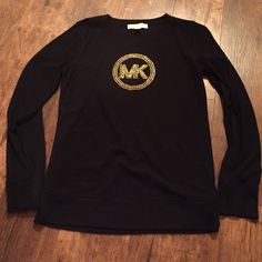 Michael Kors studded top Michael Kors gold studded black thermal top! Had to have it, but only wore it once! Great condition! Offers welcome! MICHAEL Michael Kors Tops Tees - Long Sleeve