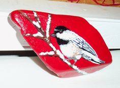Black capped Chickadee bird painting on a rock by aquietplace