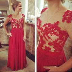 Delicate Red Chiffon Lace Applique Prom Dresses 2016, Red Prom Gown, Prom Dresses 2016, Evening Dresses