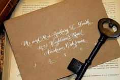 Hand Calligraphy Envelope Addressing  Style: Blue by AngeliqueInk