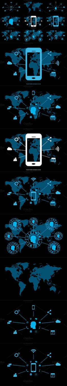 Social media world map collection. Business Infographic
