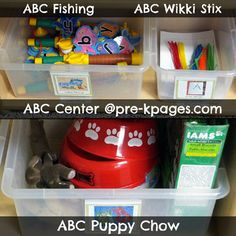 ABC Center Set-Up and Activities for Pre-K, Preschool, or Kindergarten via www.pre-kpages.com