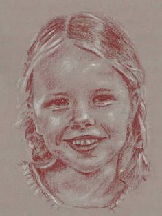 A4 Portraits - Red and White pastel on Toned Paper - #portrait #HandDrawn #RedAndWhitePastel