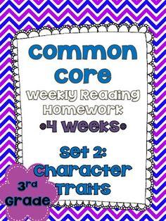 3rd Grade Common Core Reading Homework
