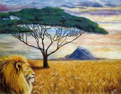 """The Watcher"" Oil on Canvas. Commission from a person who used the Acacia Tree as a Logo on his Oil company.  That is all he told me he wanted in the painting. The symbolism of what the Lord had me include in this painting was very touching when the man saw his painting! by Connie Baten"
