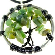Jade Tree of Life pendant with leather necklace  $35.00