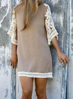 Short Beige Cream Dress With Flared Lace Sleeves White Fringed Hemline Shift Style