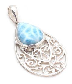 Larimar Pendants Natural Gemstone Bezel set in Solid 925 Sterling Silver #Rananjay #HandmadePendant