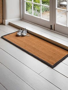 A double doormat in coir with grey border, specially designed for use with large french doors or bifold doors. Click the image to find out Door Mat, Bifold Doors, Front Door Mats, Selling Furniture, Hallway Storage, French Doors, Indoor, Double Doormat, Hallway Shoe Storage