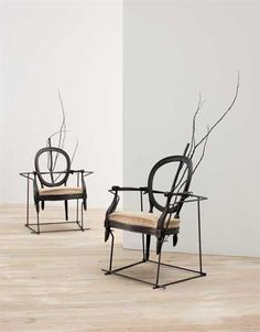 VINCENT DUBOURG Pair of 'Déambule' chairs, 2005  Wood, bronze, rebar, linen.  One: 165.4 cm. (65 1/8 in.) high; the other: 169.5 cm. (66 3/4 in.) high Editioned by Carpenters Workshop Gallery, UK.  From an edition of eight.  Underside of each signed in white chalk with artist's signature and '2005' (2).