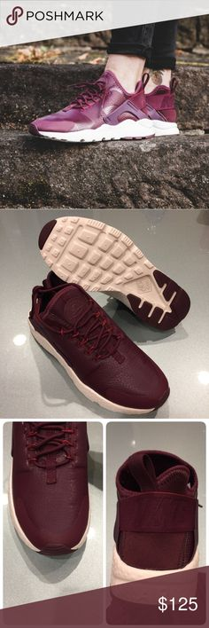 New NIKE Air Huarache Run Ultra PRM~7.5 brand new no lid  size 7.5 night maroon/dark cayenne/sail comes from smoke free home  100% authentic M1700071 Nike Shoes Athletic Shoes