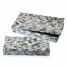 Key Biscayne Modern Mother of Pearl Mosaic Decorative Boxes- Set of 2 -